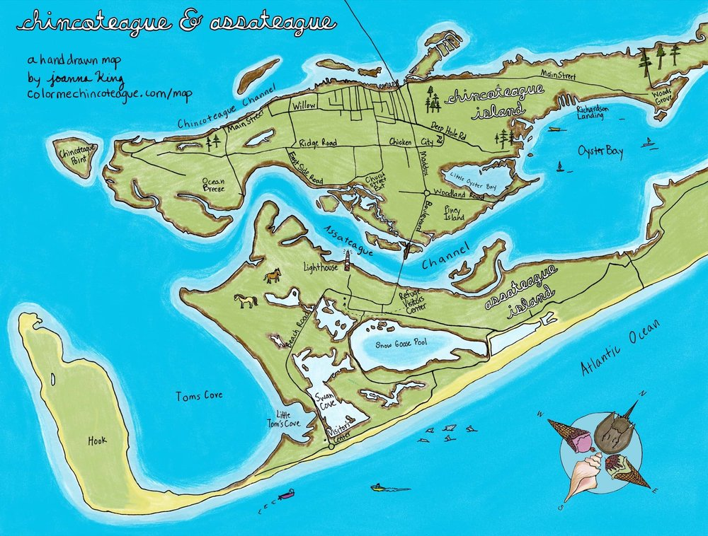 This map of Chincoteague and Assateague was hand-drawn and colored by Joanna King.