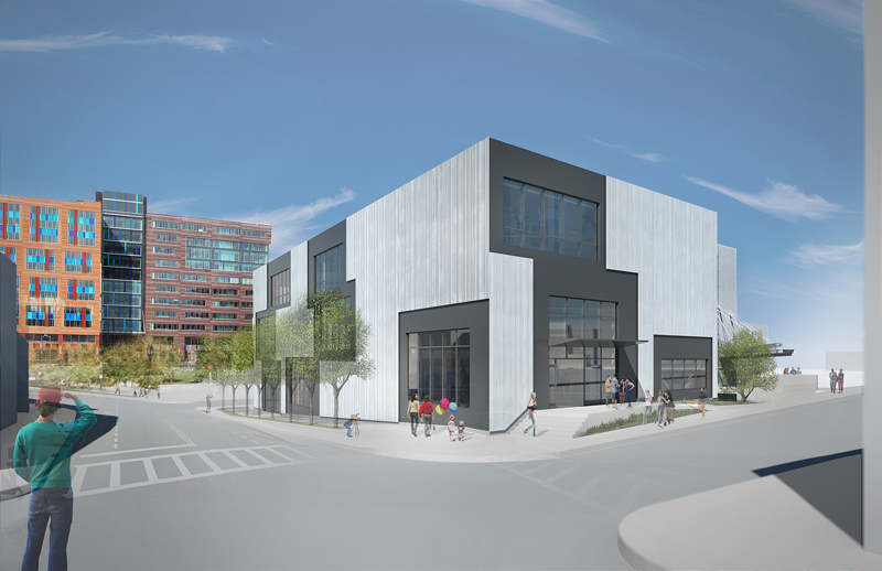 A rendering of the new expanded Epicenter at the corner of W. 2nd Street at A Street in South Boston.