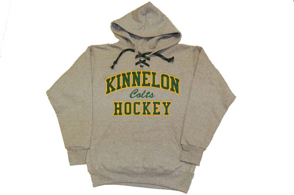 Kinnelon Colts Hockey lace-up hoodie with twill applique' letters and embroidery.