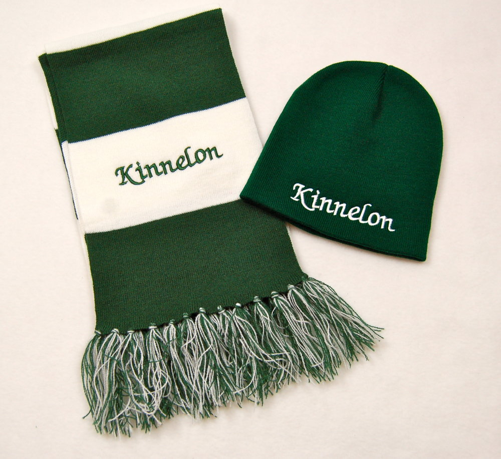 Kinnelon embroidered scarf and knit cap.