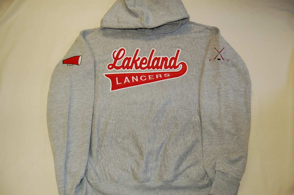 Lakeland Lancers hoodie with embroidered twill applique' and megaphone.