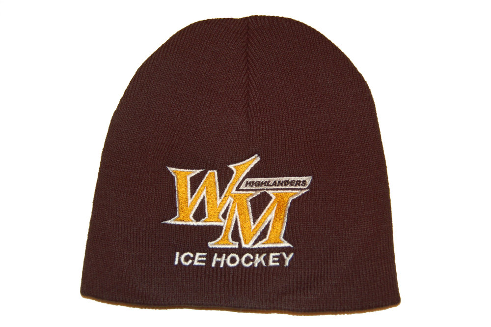 West Milford Highlanders Ice Hockey embroidered knit beanie.