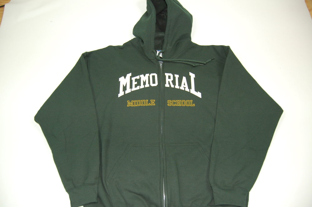Memorial Middle School zippered hoodie with felt lettering and embroidery.