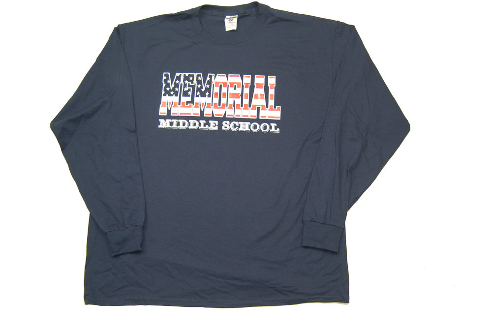 Memorial Middle School Stars & Stripes long sleeve T-Shirt.