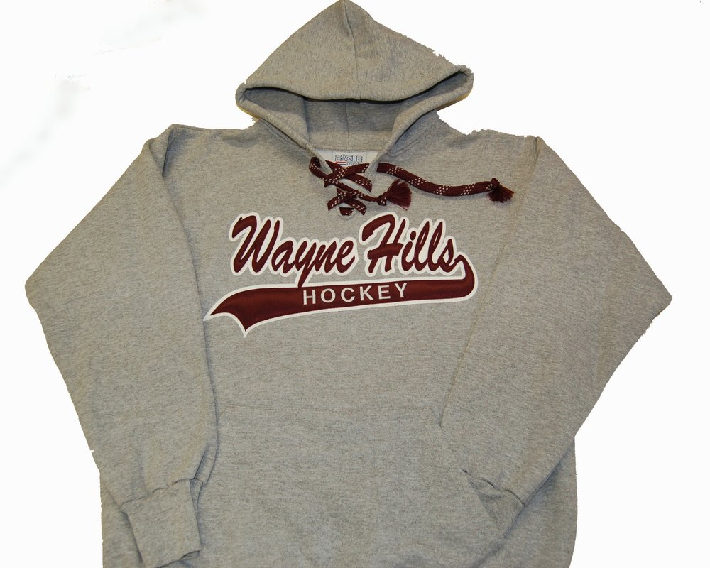 Wayne Hills HS Hockey twill applique' on lace-up hoodie.
