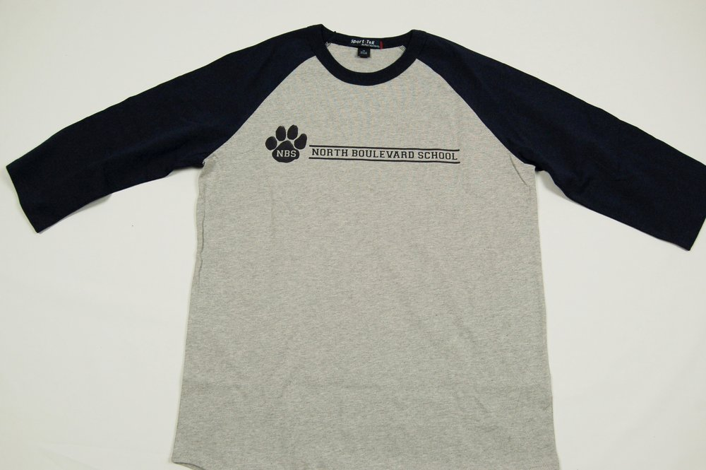North Boulevard School 3/4 sleeve T-Shirt.