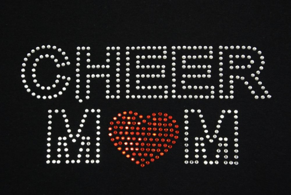 Cheer Mom w/Heart in clear crystal and red rhinestones