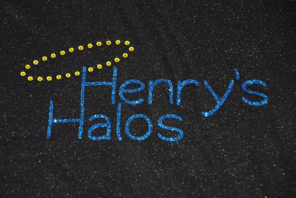 Henry's Halos in blue glitter and citrine rhinestones
