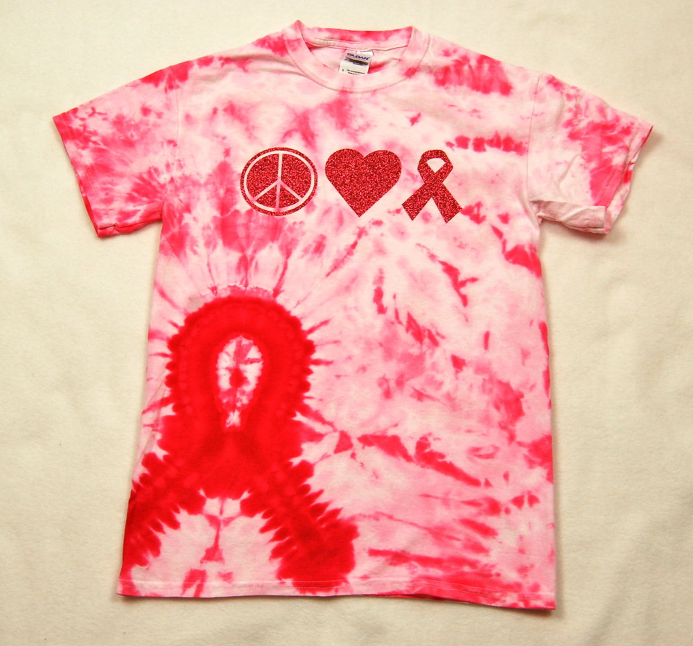 Peace-Love-Support Ribbon in red glitter