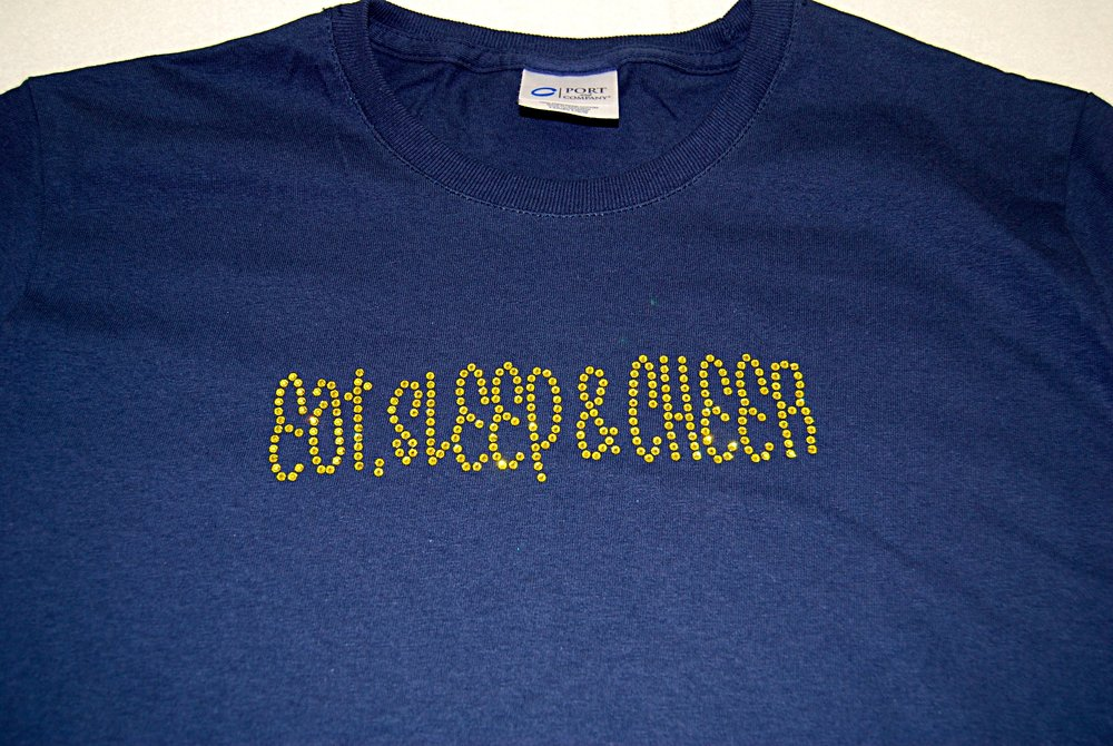 Eat, Sleep & Cheer in citrine rhinestones
