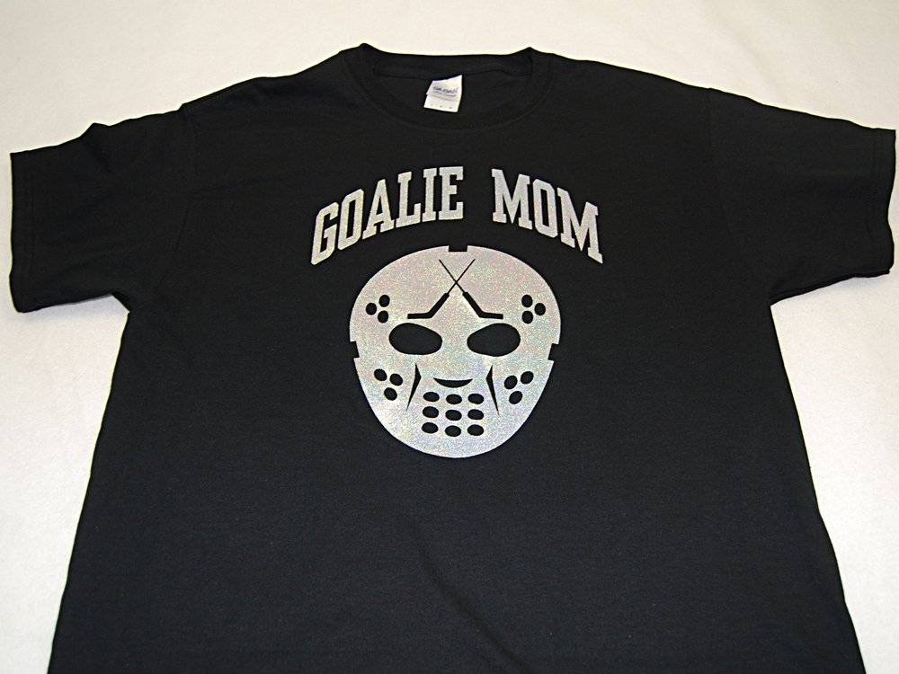 Goalie Mom w/Mask in silver glitter