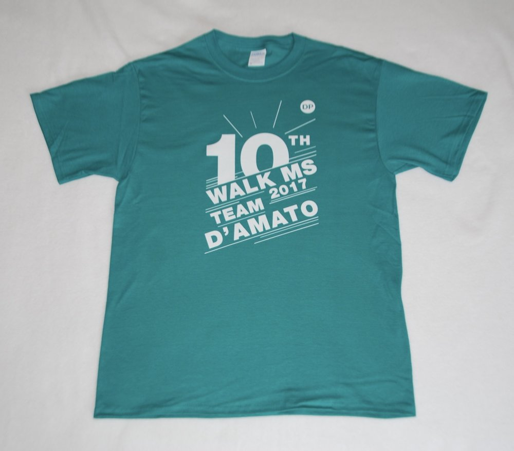 Team D'Amato Walk MS 10th Anniversary T-Shirts.