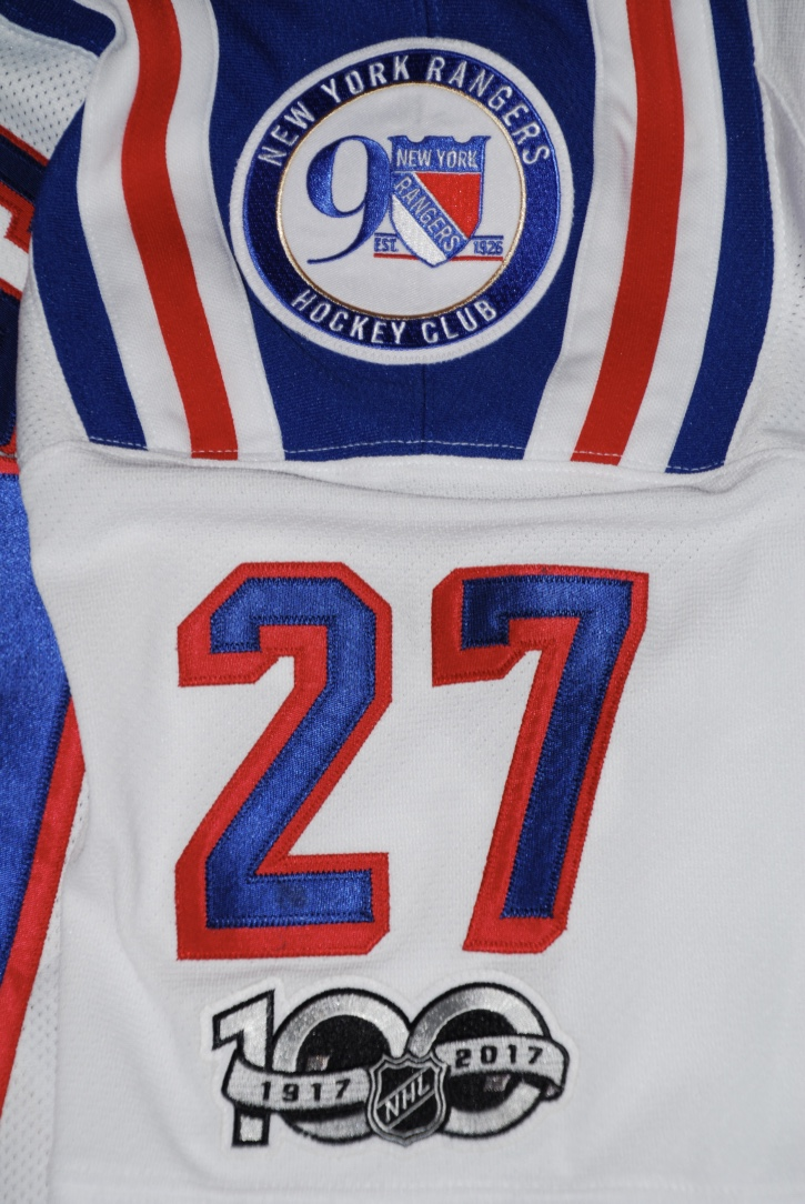 NY Rangers - McDonagh 27 w/Rangers 90th and NHL 100th Anniversary patches.