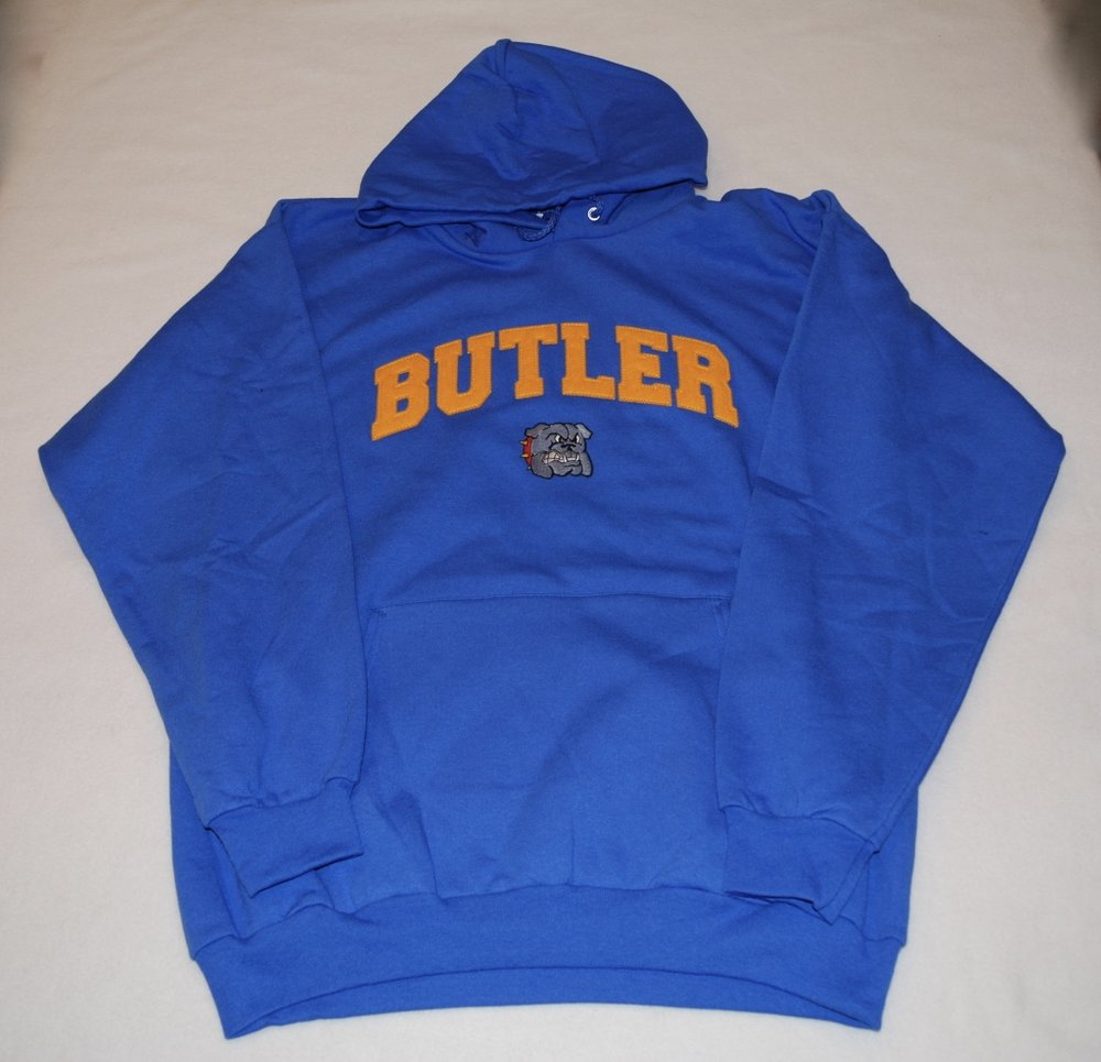 Butler Bulldogs in felt letters with embroidered mascot.