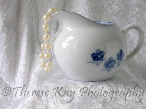 Blue Flower Pot and Pearls