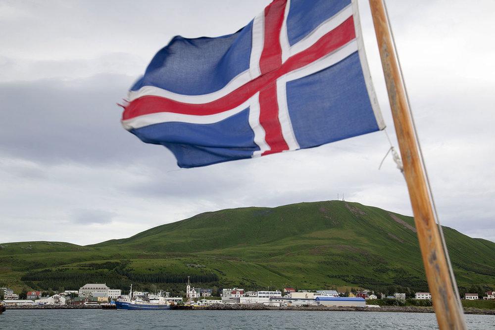 Iceland Flag and Húsavík
