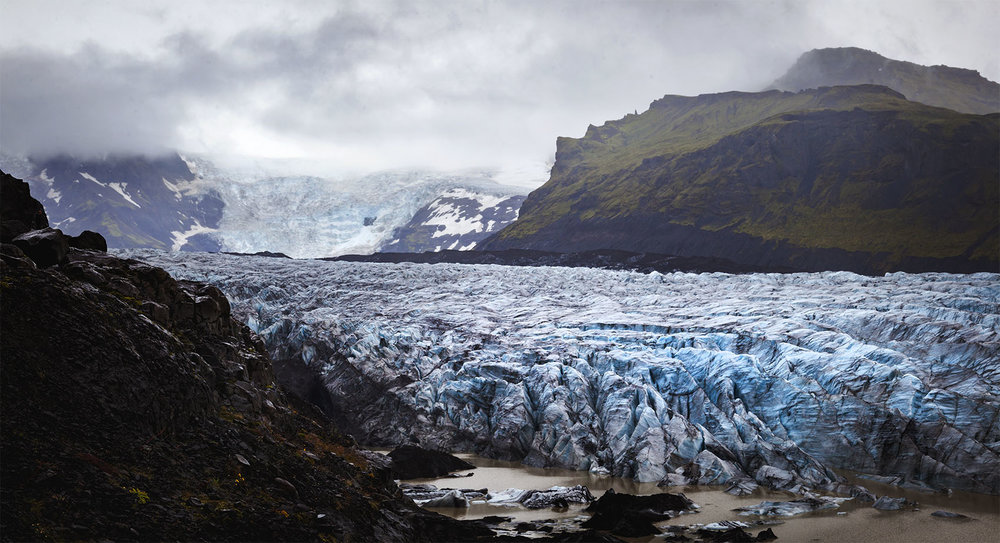 The Mýrdalsjökull glacier is located in the south of Iceland.