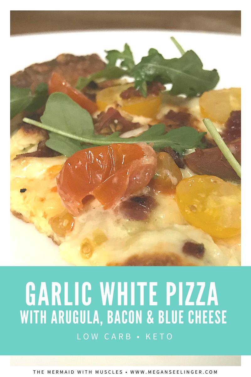 White Pizza Sauce Recipe with Arugula, Low carb Pizza, Keto Pizza crust