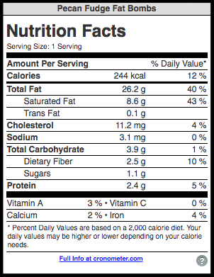 Keto Pecan Fudge Fat Bombs Nutrition Facts