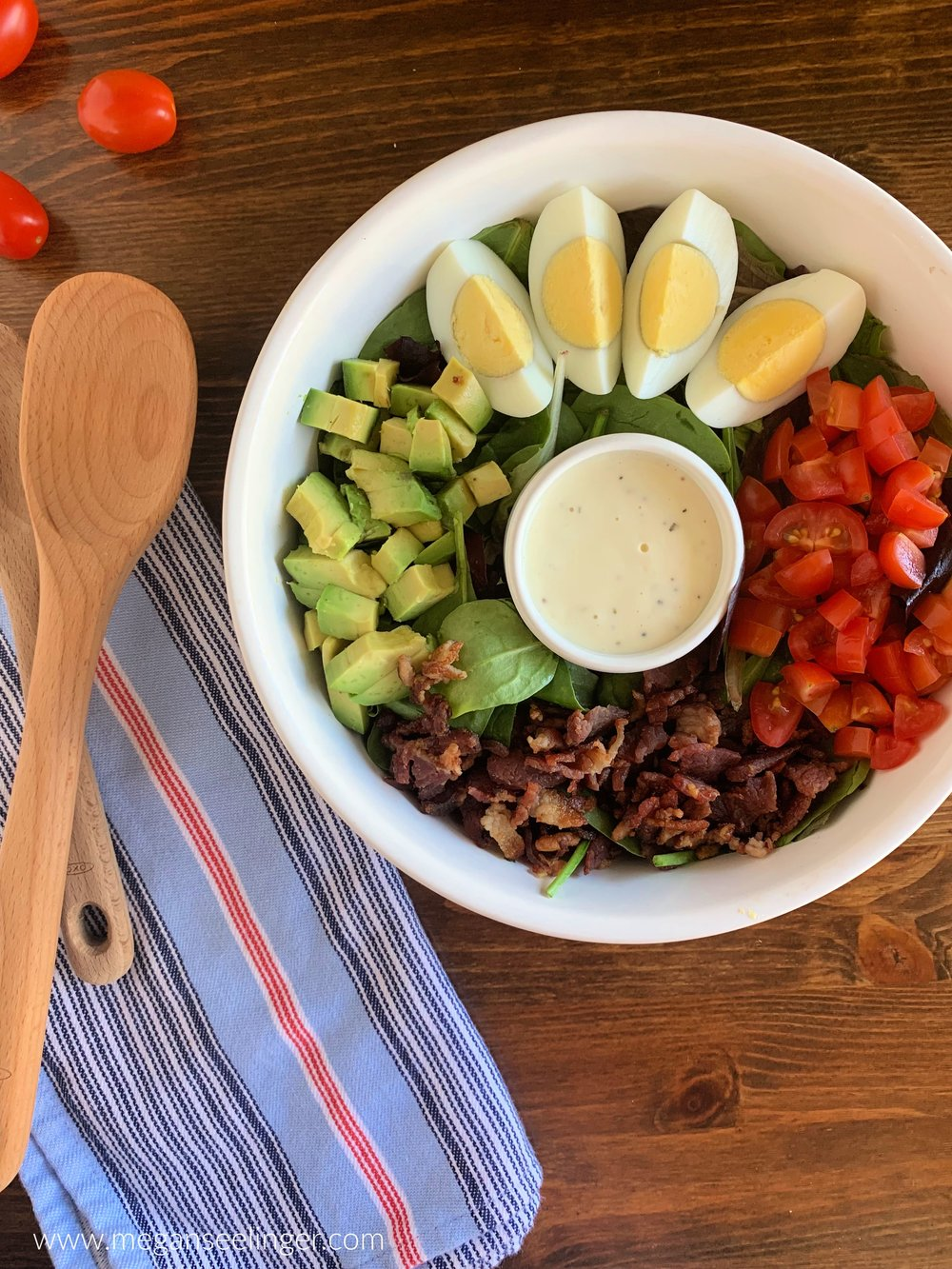 Easy Keto Cobb Salad Meal Prep Lunch Recipe