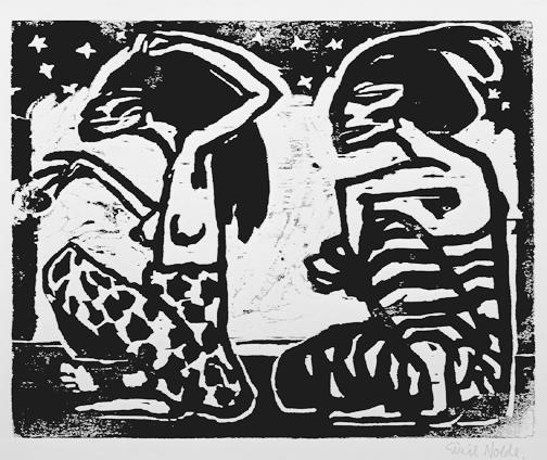 Emil Nolde,  Mann und Weibchen , Woodcut. 1912.