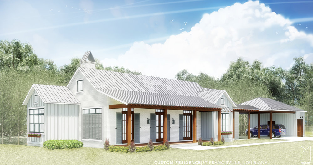 This Modern Farmhouse is located on a wooded lot in rural St Francisville, Louisiana.  Rustic elements, including exposed timber beams throughout, meet contemporary design, such as full-height steel windows facing the rear yard, in this southern classic home.