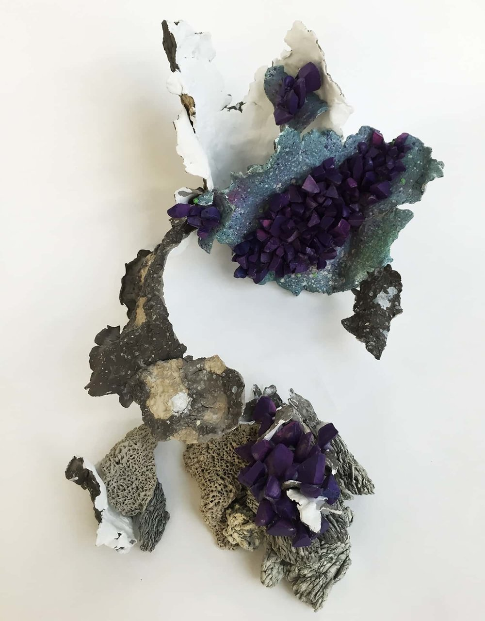 "Amethyst Hue,  2014   Clay,  gesso, spraypaint  12"" x 6"" x 4""   Inquire below"