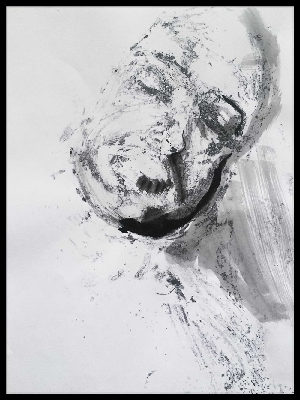 """Dissolved No. 4 ,  2015   Monotype print on copy paper, ink, watercolor  9""""x11"""" (Framed) 8.5""""x11""""(Image)  Inquire below"""