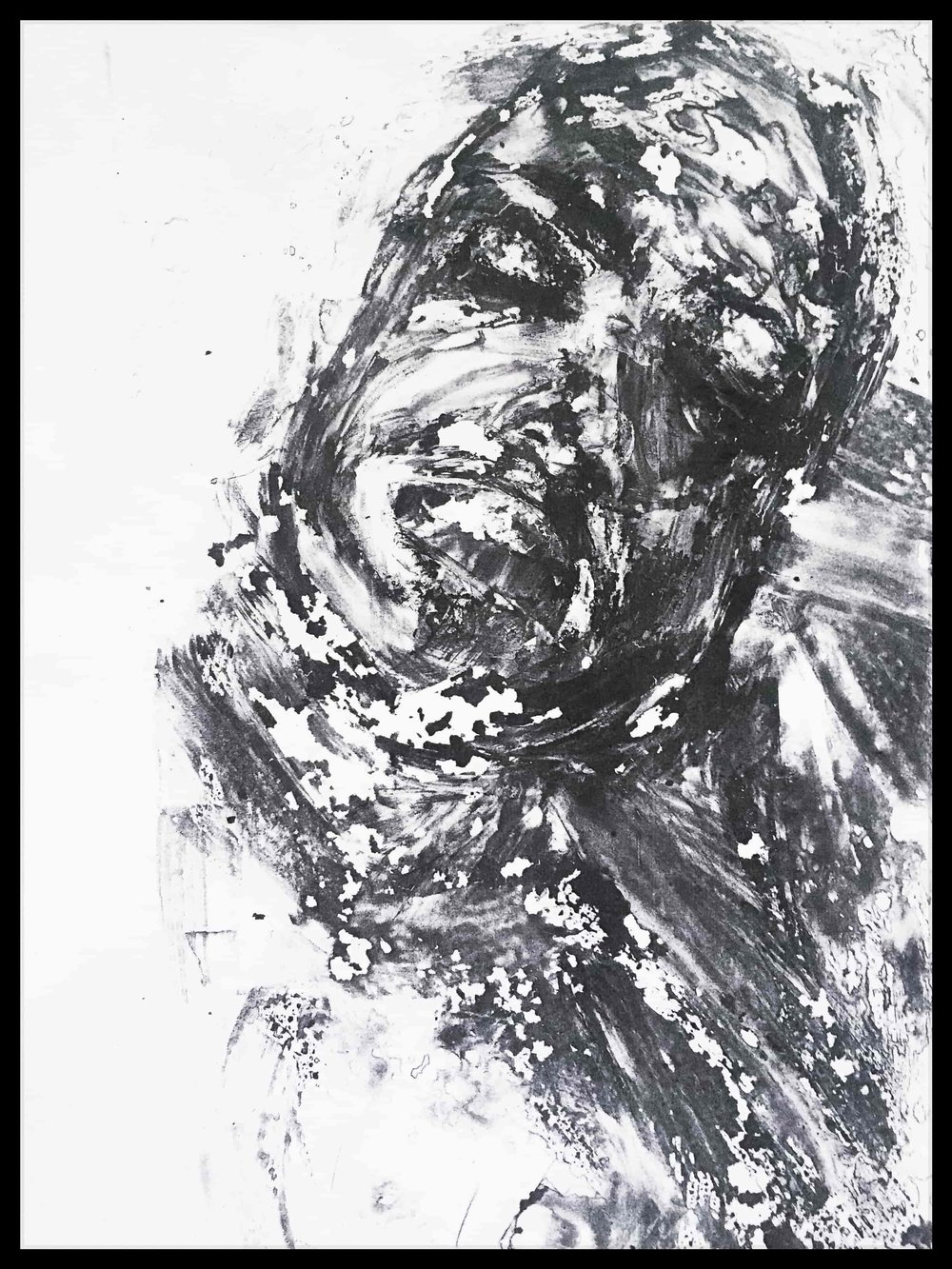 """Dissolved No. 5 ,2015   Monotype print on copy paper  9""""x11"""" (Framed) 8.5""""x11""""(Image)  Collection of the artist"""