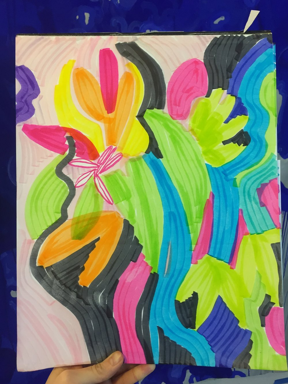 """March 26, 2018   Markers on paper 11"""" x 14"""" Inquire via   email"""