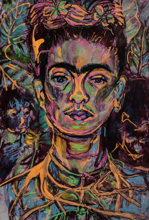 Oh Frida , a drawing in watercolor pencil and liquid chalk based on Frida Kahlo's S elf Portrait with Thorn Necklace and Hummingbird (1940) .