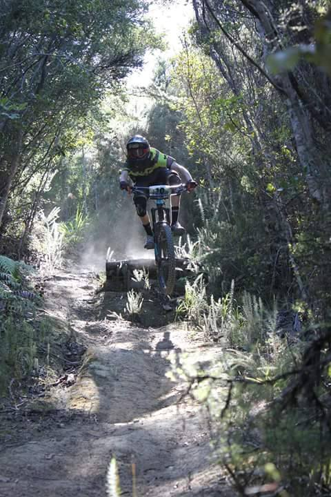 Finn Richardson shredding on his mountain bike. Finn is working towards a sports Tasman qualification in mountain bike coaching. As you can see the jumps are full of energy, exactly what the Awaken bars provide!