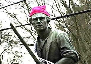 Westport Minuteman sporting the Women's March hat!