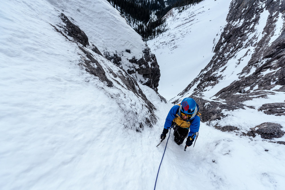 The first two pitches were a combination of fun alpine ice and easy waterfall ice.
