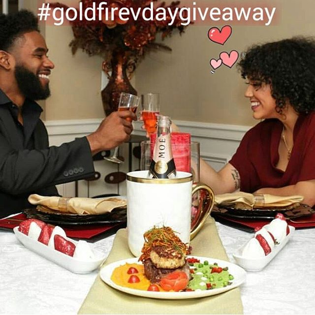 4 course in home romantic dinner- (Valued $500) But register today  for only $20.00 you must be a Georgia resident to qualify. www.goldfireprivatechefs.com #goldfirevdaygivaway