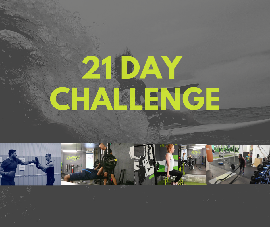 21 Day Challenge - Attendance Assessment, facebook support group, nutrition action plan, supplement protocol, 10 group PT Sessions, round the clock support £450