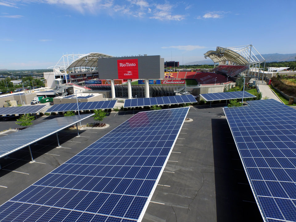 Rio Tinto Stadium 6413 panels installed | 2020kW generated per month $16,000 saved per month