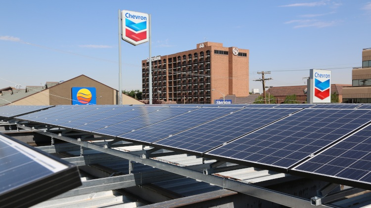 Flat Rooftop (Tilted Array) on Chevron Gas
