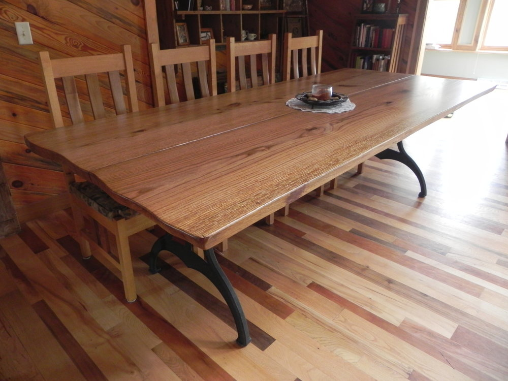 Live Edge Red Oak Dining Table