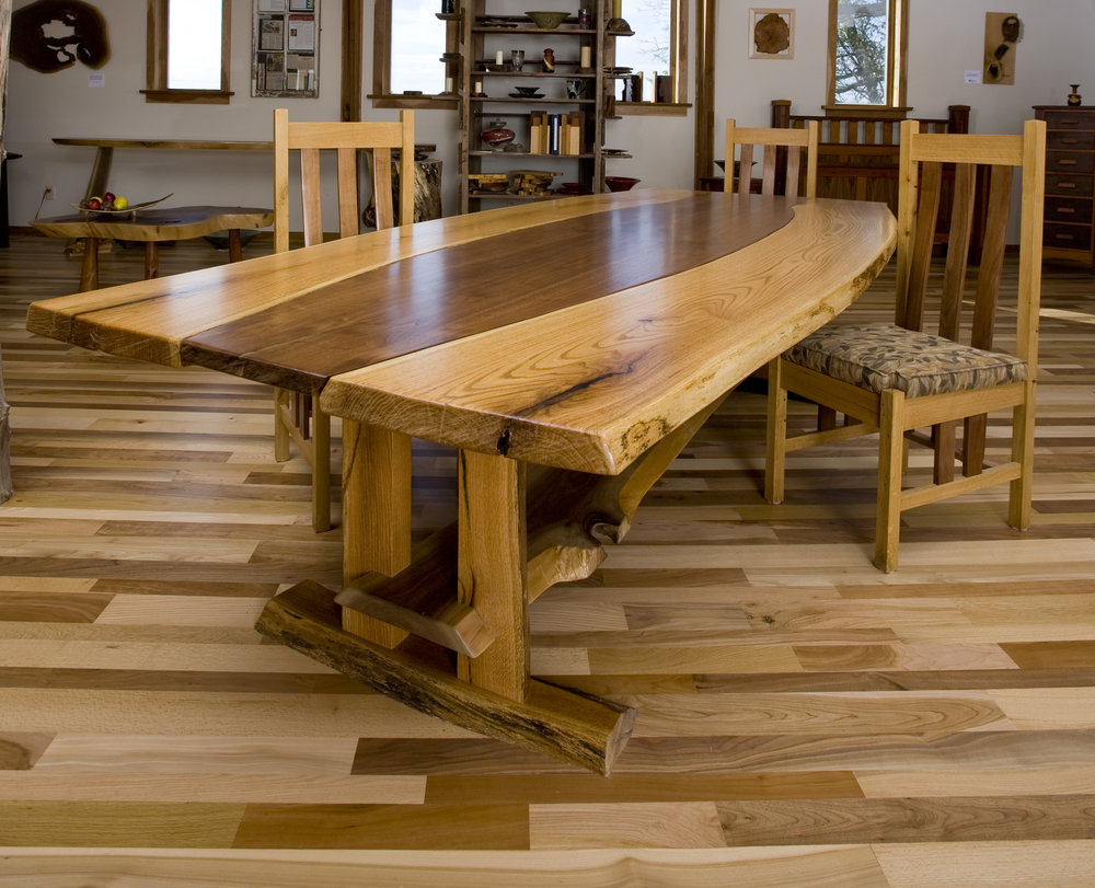 Live Edge White Oak and Walnut Conference Table