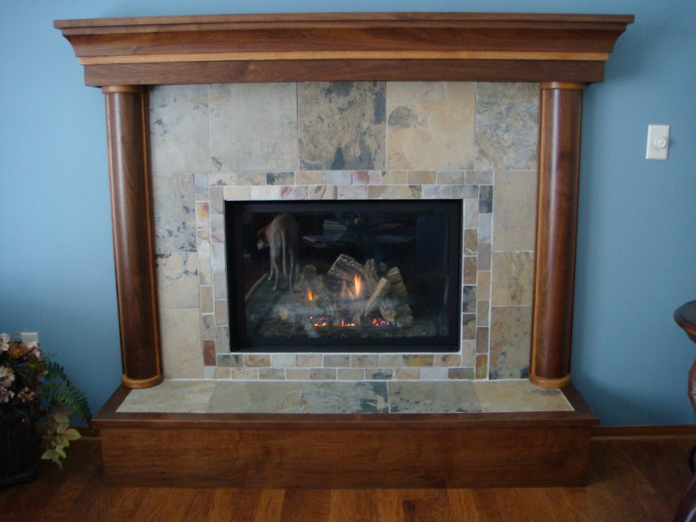 Walnut Mantle with White Oak Accents