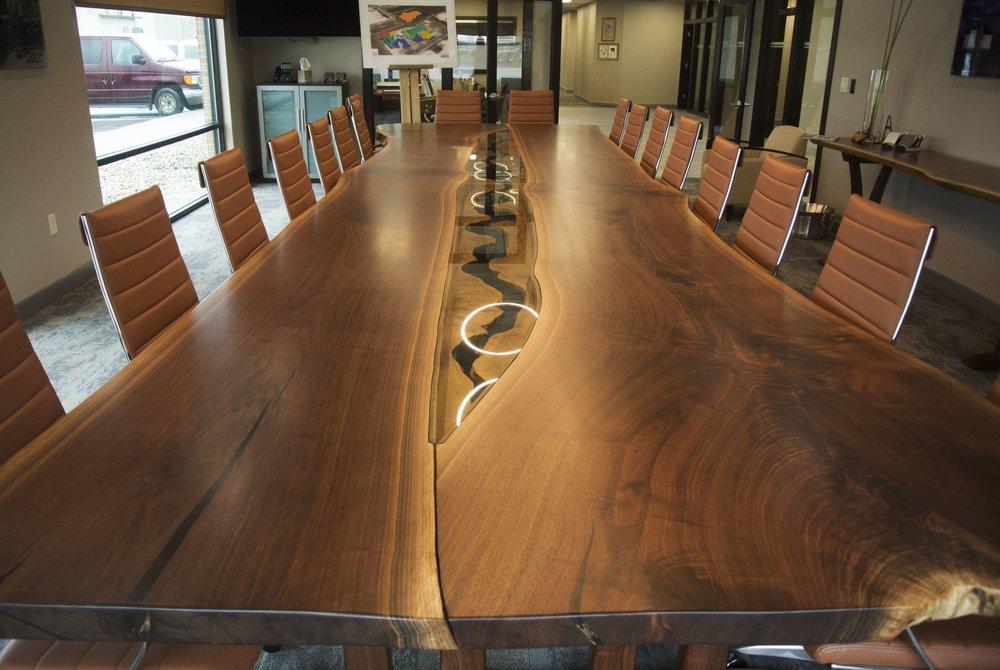 Live Edge Walnut Table with Burled Oak River