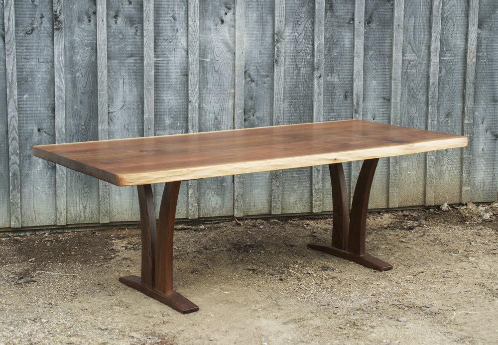 Hand-scraped Live Edge Walnut Table