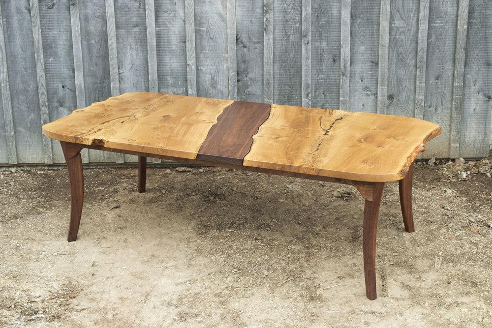 Oak and Walnut Leaf Table