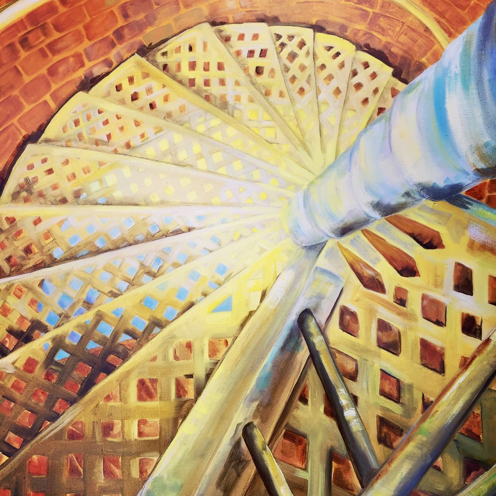 Down the Lighthouse Stairs - Oil on Canvas 20''x24'' $500