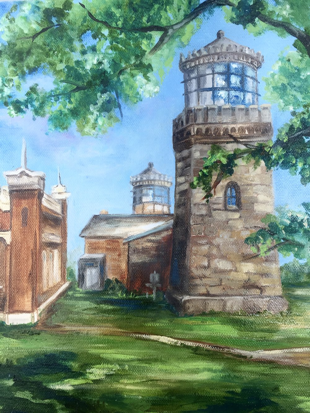 """Twin lighthouses - Oil on Canvas 8"""" x 10"""" $200"""