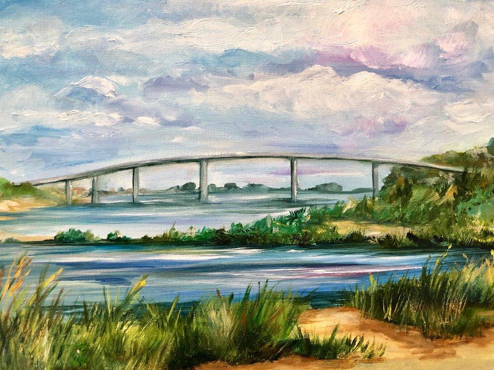 "Sandy Hook Bridge - Oil on Canvas 9"" x 12"" $200"