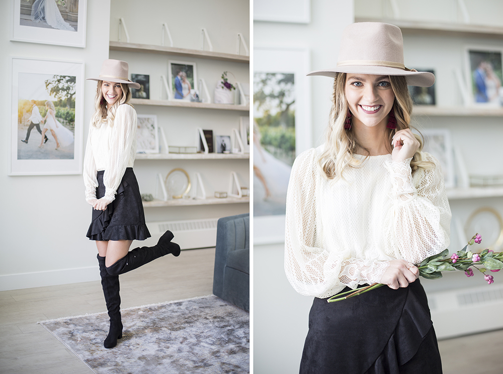 Lace Blouse  //  Skirt  //  Hat  // Boots are Steve Madden.