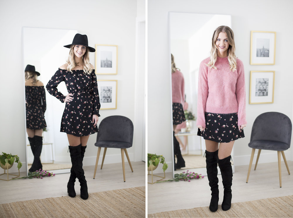 Dress  //  Hat  //  Sweater  // Boots are Steve Madden.
