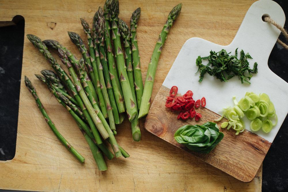 Asparagus, basil, chopped fresh mint, hot pepper & leeks.